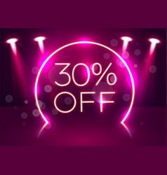 Sale glowing neon sign light background vector