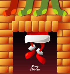 Santa Claus climbs through the chimney vector image