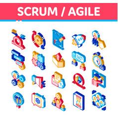 Scrum agile isometric icons set vector