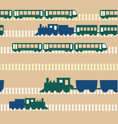 seamless colorful pattern with train vector image