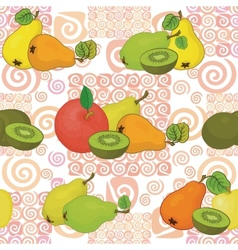 Seamless pattern and fruits vector image