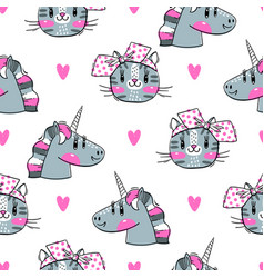 seamless pattern with faces cats and rainbow vector image