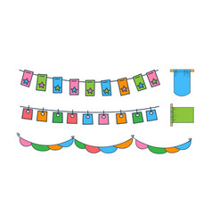 set different bunting flags colorful vector image