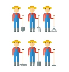 Set of farmers with equipment vector
