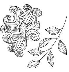 Set of Monochrome Contour Leaves vector