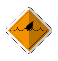 Shark silhouette alert icon vector