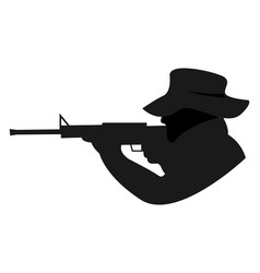 shooter with gun on white background vector image