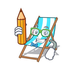 Student beach chair character cartoon vector