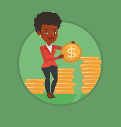 successful business woman with dollar coin vector image