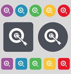target icon sign A set of 12 colored buttons Flat vector image