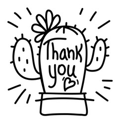 thank you card with cute cactus succulent and vector image
