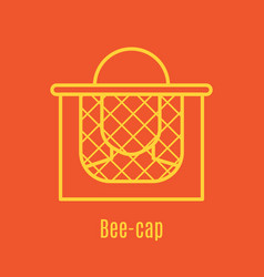 Thin line icon bee cap vector