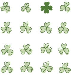 Three and four leaf clover vector image