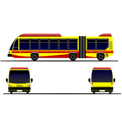 Three views of city bus on the road vector