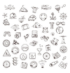 Travel and navigation sketches of icons set vector image