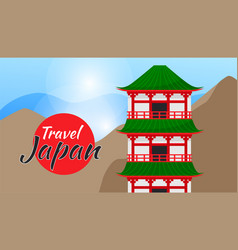 travel japan poster with japanese famous vector image
