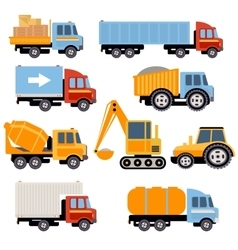 Trucks and Tractors Set Flat Style vector