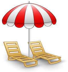 Two beach chairs under sunshade vector