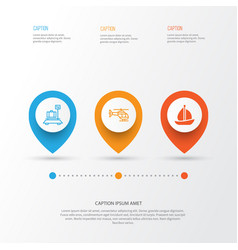 vehicle icons set collection of sailboat flight vector image