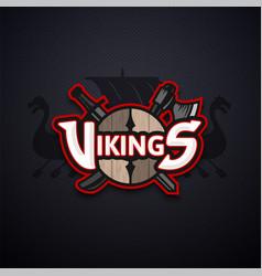 Vikings sport logo dark emblem vector