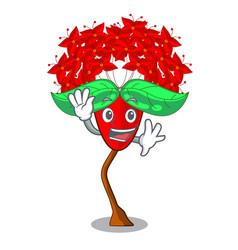 Waving ixora flowers in shape of mascot vector