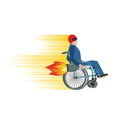 Wheelchair with turbo engine Disabled fast rides vector
