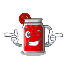 Wink sweet tomato juice in character glass vector