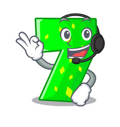 with headphone number seven isolated on the mascot vector image