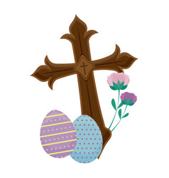 wooden catholic cross with eggs of easter vector image