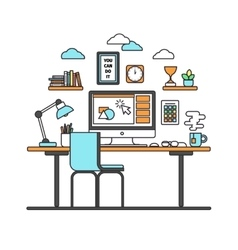 workspace line art vector image