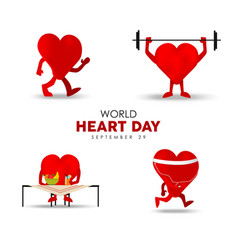 World heart day card for exercise and nutrition vector