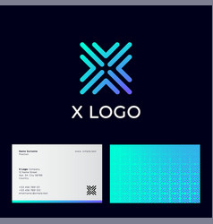 X letter monogram some blue linear business card vector