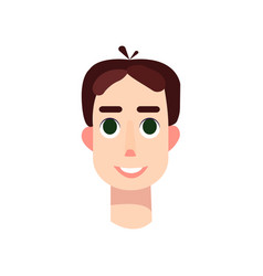 young man with big green eyes and brown hair vector image