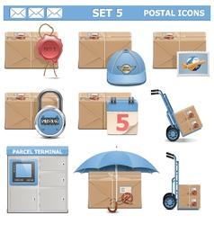 Postal Icons Set 5 vector image