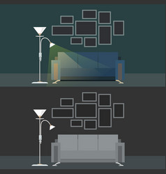 set with two dark interiors living room vector image