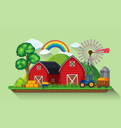 two red barns and windmill in the farm vector image