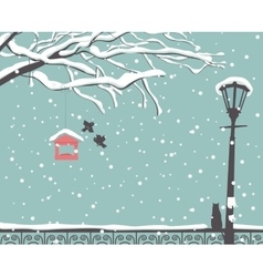 winter scene at the park vector image vector image