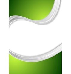 Abstract green wavy flyer corporate design vector