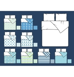 Bedding mockup and sample seamless patterns vector image