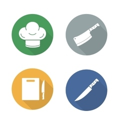Chef tools flat design icons set vector image vector image