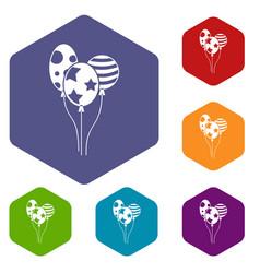 holiday balls icons set vector image vector image