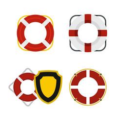 lifebuoy icon set flat style vector image