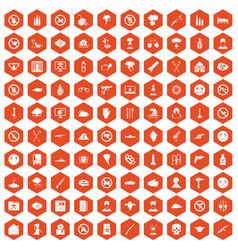 100 tension icons hexagon orange vector image vector image