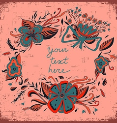 Floral background with frame and a space for text vector image vector image