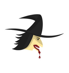 halloween witch head blood drop on mouth vector image vector image