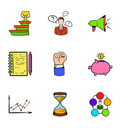 investing icons set cartoon style vector image vector image