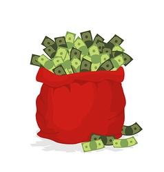 Money bag santa claus big red festive bag filled vector