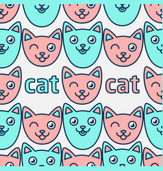 pattern with smiling cats pink and blue cats vector image vector image