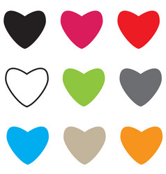 set hearts icon on white background hearts sign vector image vector image