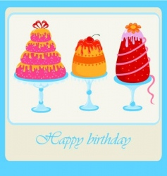 sweet cakes set for birthday vector image vector image
